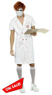 Mens Nurse Joker Costume Dark Knight