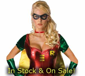 sexy female Robin Halloween costume in stock